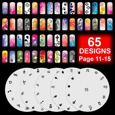 5 Airbrush Nail Art Stencil Pattern Sheet Kit Set Pages 11-15 - 5 Sheet of Airbrush Nail Art Stencil. Professional-grade, airbrush nail-art stencil set. Each sheet has approximately 12-13 designs. Design can used separately, or combine several patterns. Along with... - Nail Art Equipment - Beauty - $8.50