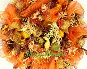 Fall mesh wreath, Fall door decoration, Autumn wreath, Fall wreath