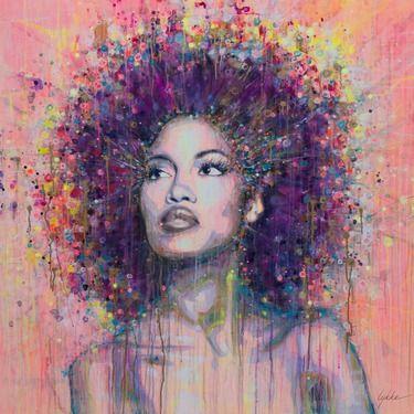 """Artist Lykke Steenbach Josephsen; Painting, """"African woman"""""""