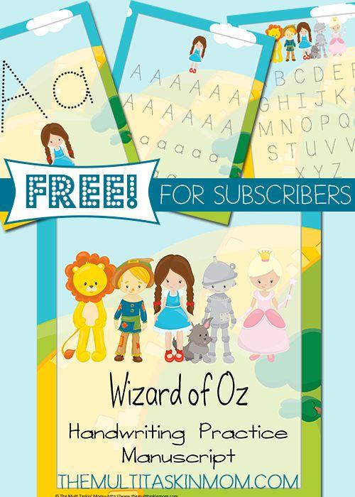 Free Wizard of Oz Handwriting Pack