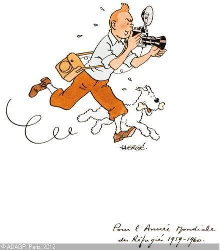 http://www.lesparesseuses.com/2012/06/my-entry-11.html TINTIN REPORTER ET MILOU • from Kasidah's board • Tintin with his camera • Tintin, Herge j'aime