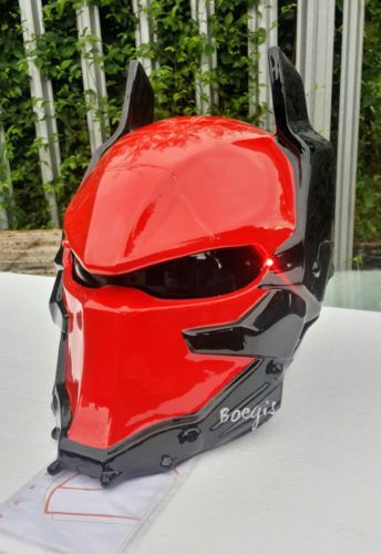 ARKHAM KNIGHT MOTORCYCLE HELMET CUSTOM DOT APPROVED (RED)