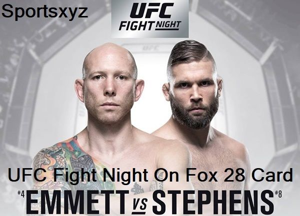 UFC Fight Night Emmett vs. Stephens Live Stream: UFC Fighting Championship (UFC) Featherweight bruisers Jeremy Stephens and Josh Emmett will conflict TONIGHT (Sat., Feb. 24, 2018) at UFC on FOX 28 inside Amway Center in Orlando, Florida.  Stephens might be 10 years profound into a here and there UFC profession, yet few can scrutinize his