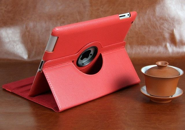 Free shipping Pu Leather 360 Rotating Protector cover Smart Stand case cover For APPLE iPad 2 ipad 3 ipad 4 Tablet Case+pen+Film