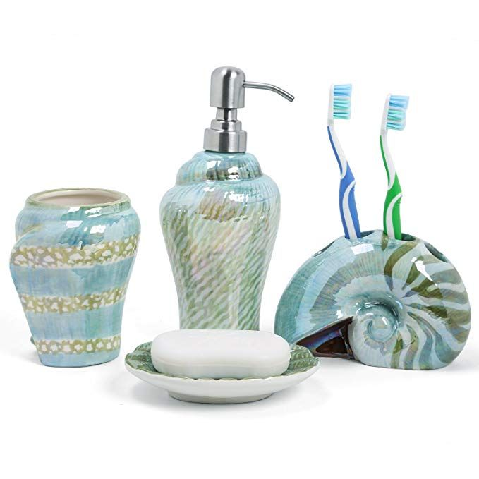 Ceramic Sea Shell Starfish Dispenser Pump Tumbler Soap Dish Set Kitchen Bathroom