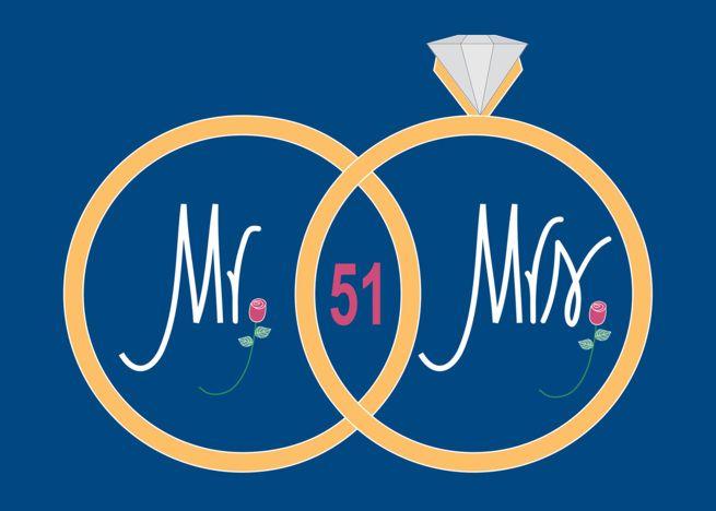 51st Wedding Anniversary Overlapping Golden Wedding Rings Card