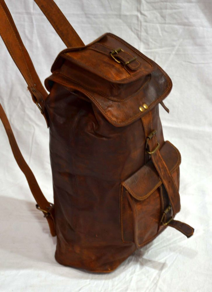 Genuine Goat Leather Brown handmade Leather Mens Backpack Strong Quality #Handmade #Backpack