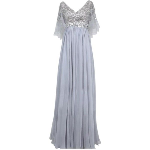 Fairy Silver Chiffon A Line Evening Dress ($395) ❤ liked on Polyvore