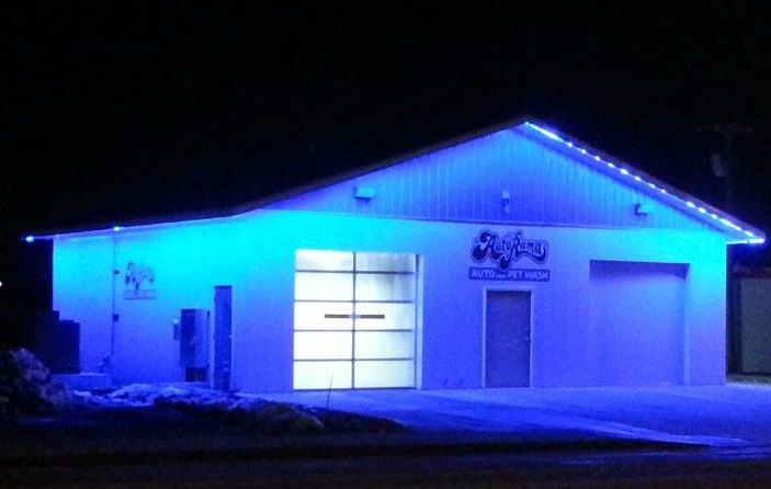 Heiser Motors Using Our Blue Colorbright Outdoor Led Strip Lights To Light Up The Exterior Of