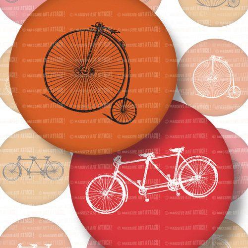 Vintage Bikes . Digital Collage Sheet