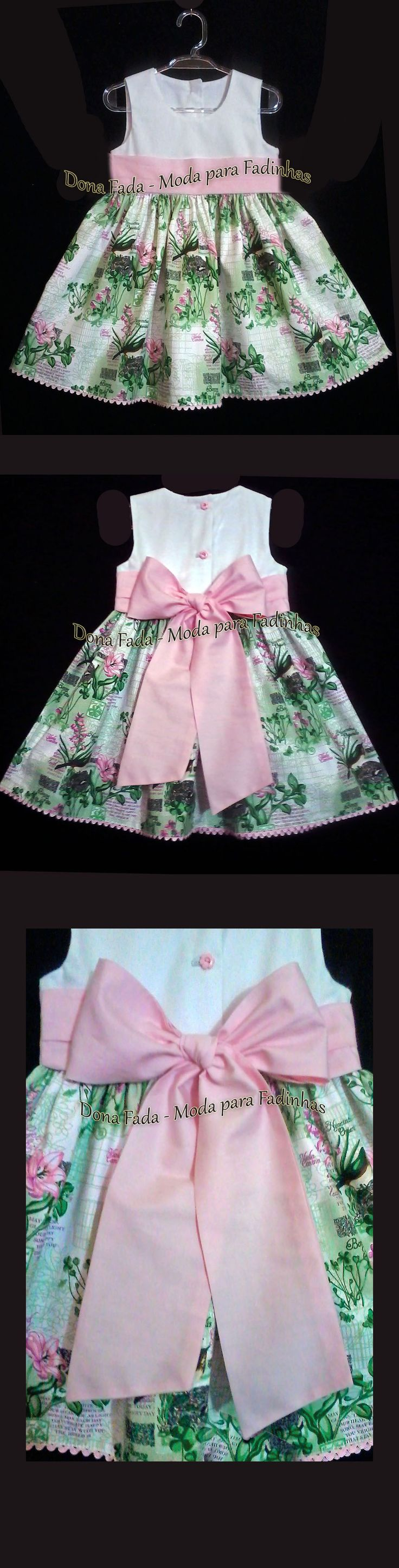 Vestido Verde, Branco e  Rosa - 2 anos  - - - - - baby - infant - toddler - kids - clothes for girls - - - https://www.facebook.com/dona.fada.moda.para.fadinhas/