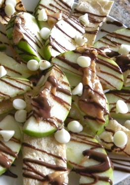 Bonus :) Healthy Dessert Idea: apple nachos - we will try our with whole wheat tortilla. Go easy on the chocolate/carmel and you can polish off a plate yourself, ha!