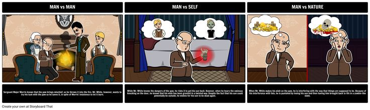 The Monkey's Paw - Literary Conflict: Having students create storyboards that show the cause and effect of different types of conflicts strengthens analytical thinking about literary concepts. Have your students choose an example of each literary conflict and depict them using the storyboard creator. In the storyboard, an example of each conflict should be visually represented, along with an explanation of the scene, and how it fits the particular category of conflict.