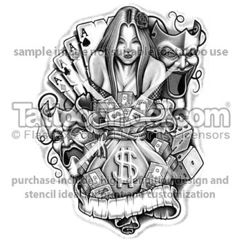 Grey Ink Cards And Gambling Tattoo Design
