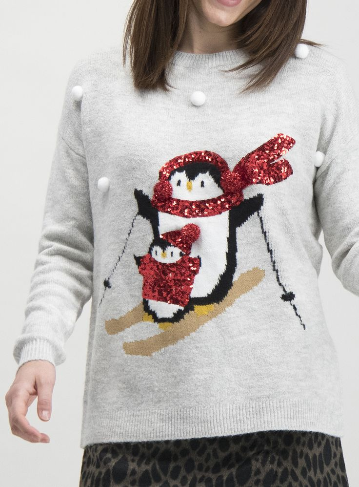 SKU DEC PLINTH XM PENGUIN POM JUMPER AW19Grey (With