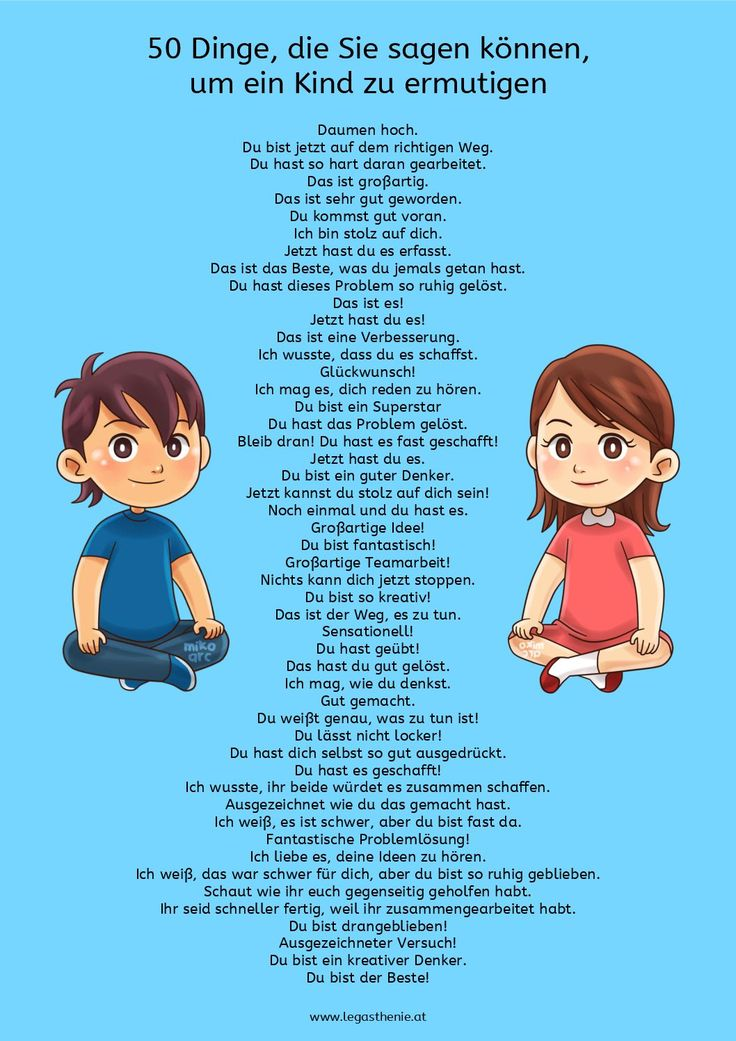 50 Dinge, die Sie sagen können, um ein Kind zu ermutigen