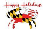 Maryland - Happy Holidays - Crab Flag - Lantern Press Artwork