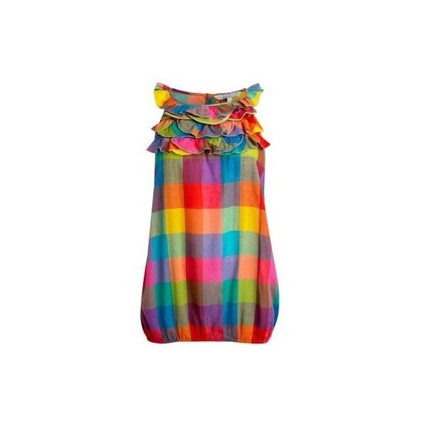 Multi coloured ruffle neck top ($19) ❤ liked on Polyvore featuring tops, dresses, shirts, shortsleeved tops, women, women's tops, ruffle neck shirt, flounce tops, short-sleeve shirt and ruffle shirt