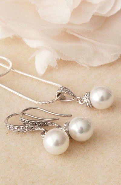 Pearl wedding jewelry Set bridal
