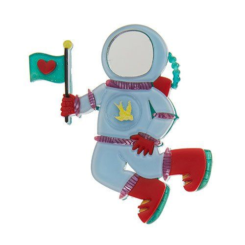 For David Bowie lovers, a reference to Major Tom. For everyone else, an astronaut from Erstwilder's Space collection. Height 7 cm, width 7 cm. Laser cut, hand assembled and hand painted, presented in a branded box, with a cute teapot tag
