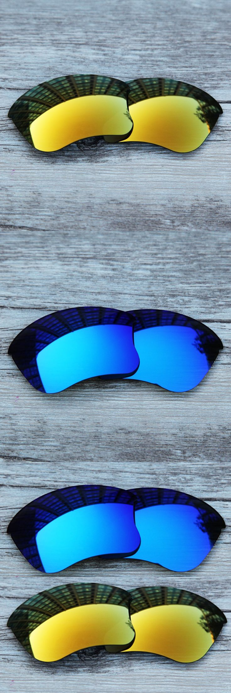 Inew polarized replacement lenses for  Flak Jacket XLJ blue and gold