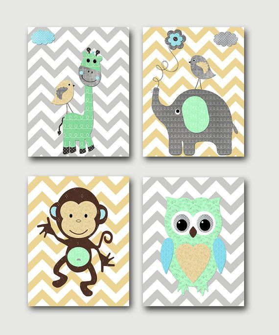 Baby Boy Nursery Art Print Children Wall Room Decor Monkey Owl Giraffe Elephant Set Of 4 S