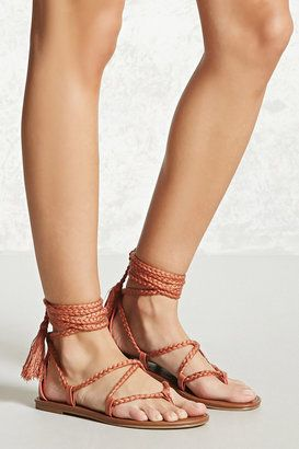 FOREVER 21  Faux Leather Ankle-Wrap Sandals - $19.90