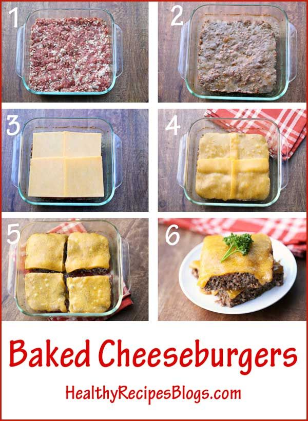 Baking cheeseburgers in the oven is so easy – no need to form the meat into patties, or to keep an eye on them as they fry or grill. And no grease splatters to clean up!
