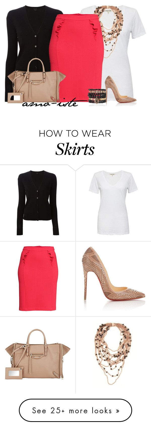 """""""H&M Skirt"""" by amo-iste on Polyvore featuring Cotton Citizen, Theory, PESAVENTO, H&M, Balenciaga, Samantha Wills and Christian Louboutin"""