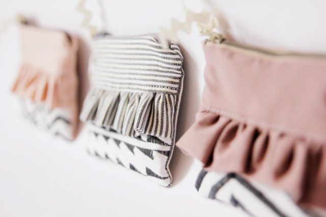 Ruffled zipper pouches