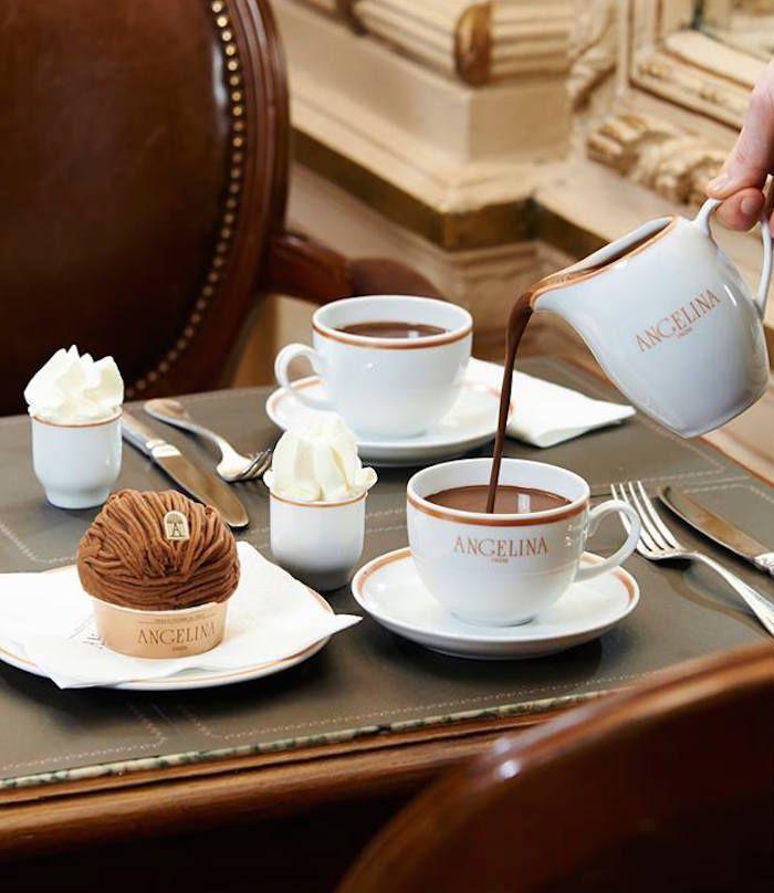 que faire à Paris sous la pluie?... se réfugier devant un chocolat chaud chez Angelina...