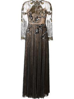 вечернее платье с вышитыми птицами
