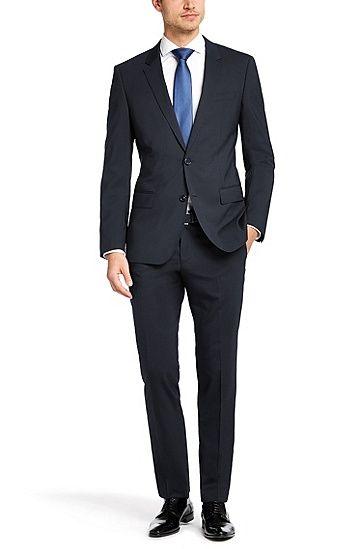Costume Slim Fit «Huge1/Genius1» en laine vierge mélangée, Bleu foncé