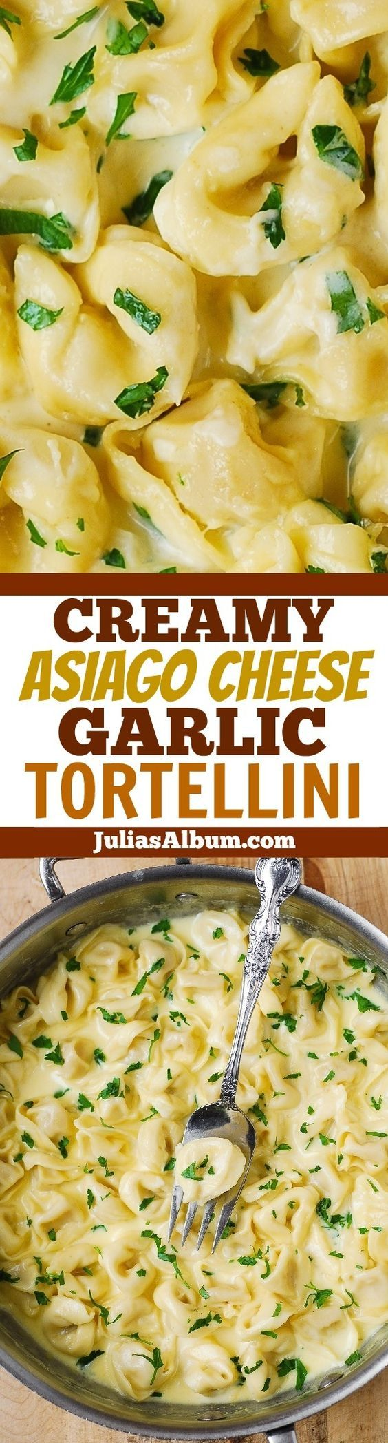 Tortellini with a creamy Asiago Cheese & Garlic Alfredo sauce. Easy, 30-minute pasta dinner recipe!