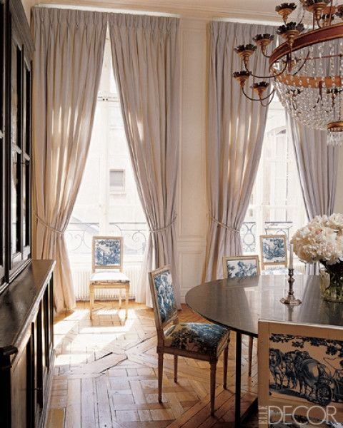 Paris apartment: Dining Rooms, Parisians Chic, Elle Decor, Floors, Paris Apartments, Chairs, Interiors, Living Rooms Curtains, Window Treatments