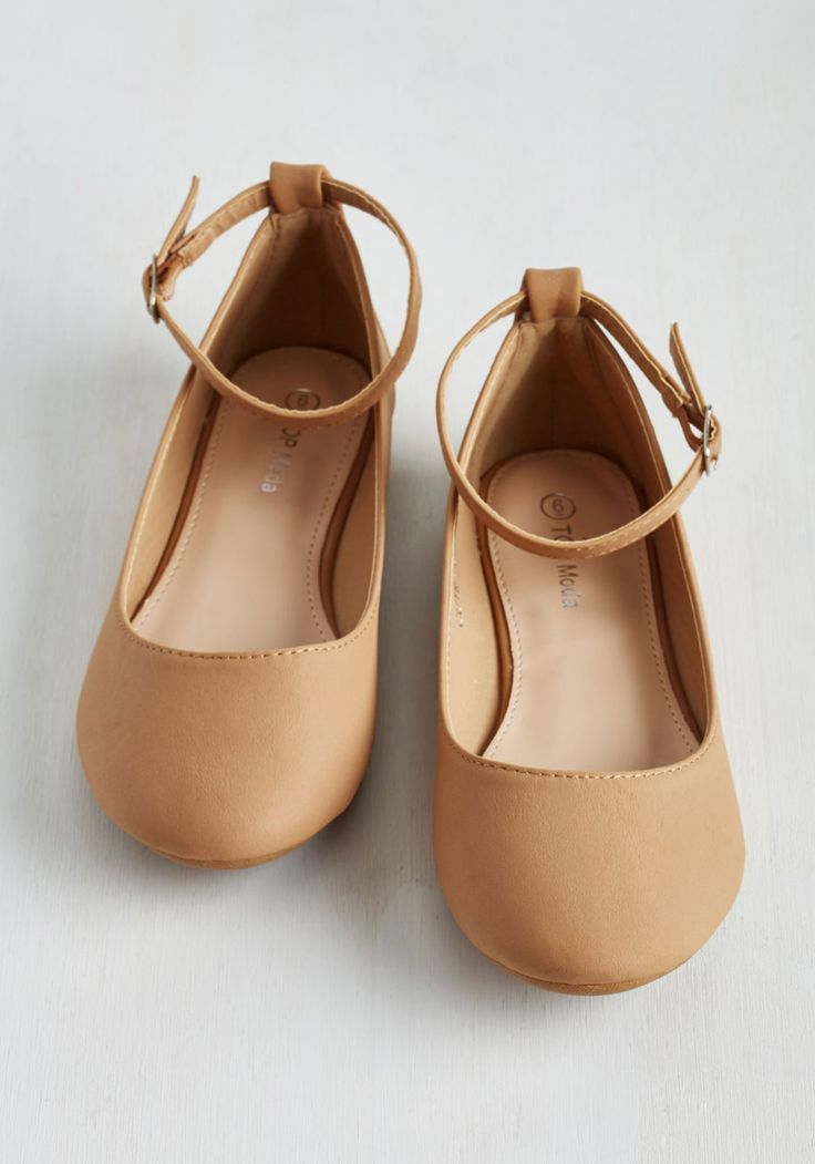 Here to Staple Flat in Natural. Once these mega-versatile flats find their way into your wardrobe, youll be pairing them with seemingly endless ensembles! #tan #modcloth