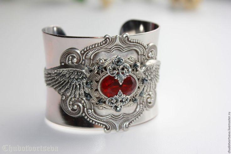 Купить Викторианская Эпоха богемный стиль браслет-манжета брасс ручная работа - серебряный