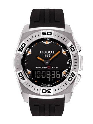 Montre TISSOT Homme Racing Touch, cadran noir, modèle quartz avec verre saphir anti-rayures, chronographe et bracelet en caoutchouc noir.