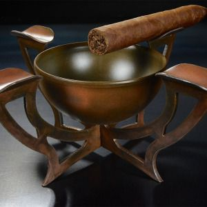 Custom hand made Steel and rust tone finished cigar ashtray made by WickedAnvil.com