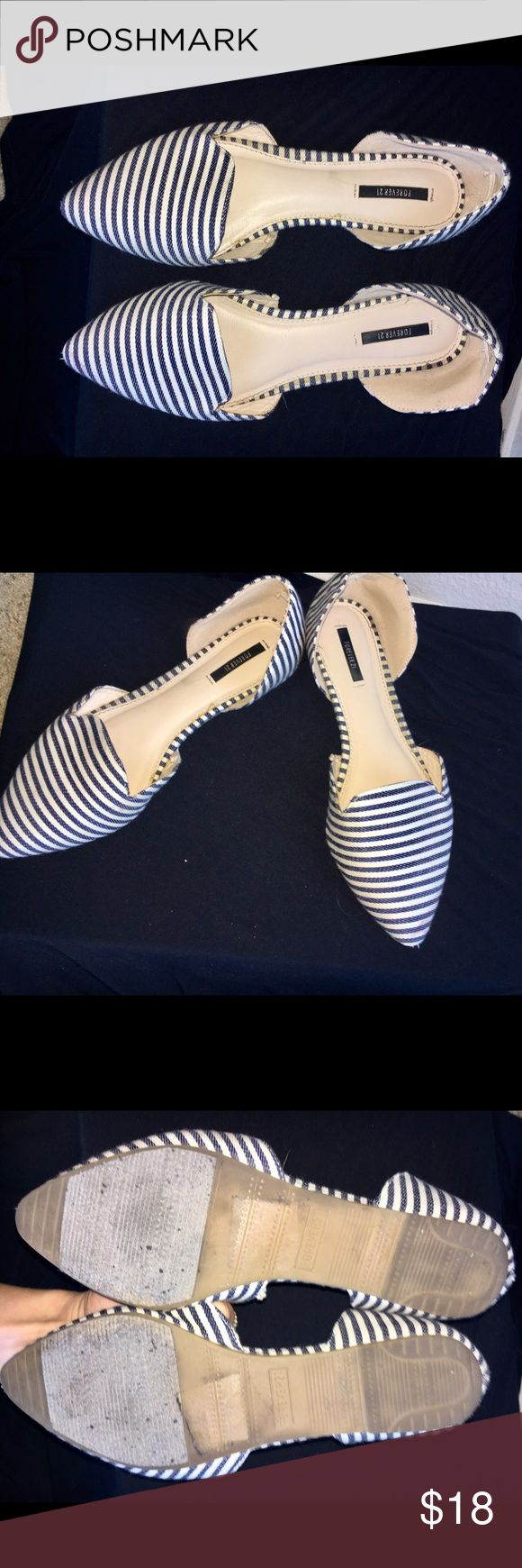 Forever 21 Nautical Blue and White Flats Nautical Blue and White Striped Flats from Forever 21 . Size 8. Hardly ever worn! Forever 21 Shoes Flats & Loafers