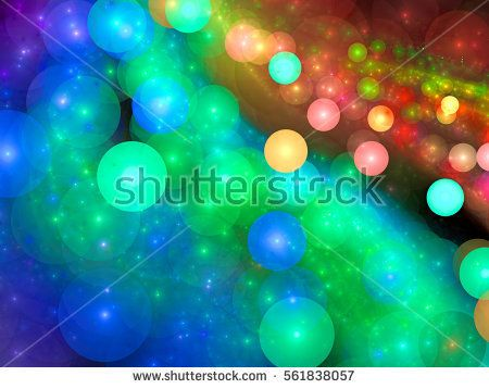 Chaos bubbles - abstract computer-generated image. Fractal art: randomly placed colourful circles. Festive background for banners, web design, banners.