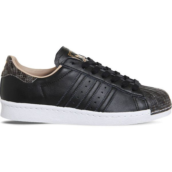 Adidas Superstar 80s leather trainers ($90) ❤ liked on Polyvore featuring shoes, sneakers, adidas shoes, black trainers, black leather sneakers, black leather trainers and snake print sneakers