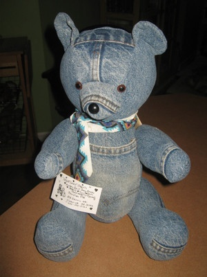 Handmade Blue Jean Jointed Teddy Bear by Christine Pitts Ala