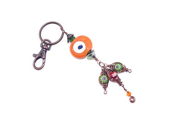 Evil Eye Keychain Nazar Purse Charm Orange Turkish Eye