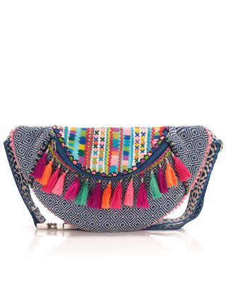 This beautiful bumbag has an exciting, colourful design – and worn round the waist, it's ideal for festivals or holidays. With a zip-top fastening, woven base in a bright, geometric pattern and multi-coloured tassels.