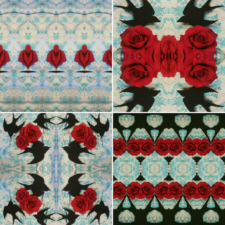 #surfacepatterndesign #textiledesign #art #artist #pattern #print #interiordesign #wallpaper #textileart #photocollage #collage #fabric #craft #swallow #roses #red #blue