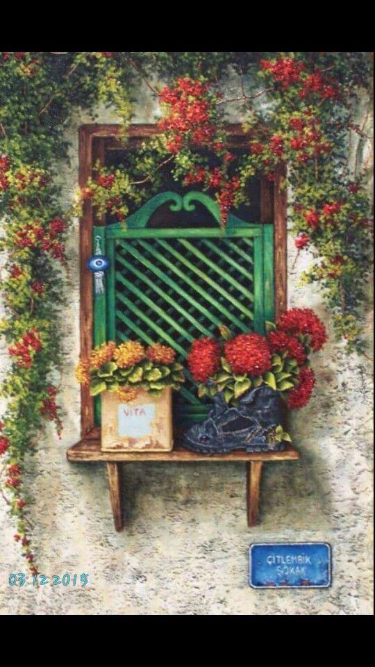 Oil painting#windows#pots#Turkis… | gunseli kapucu ...