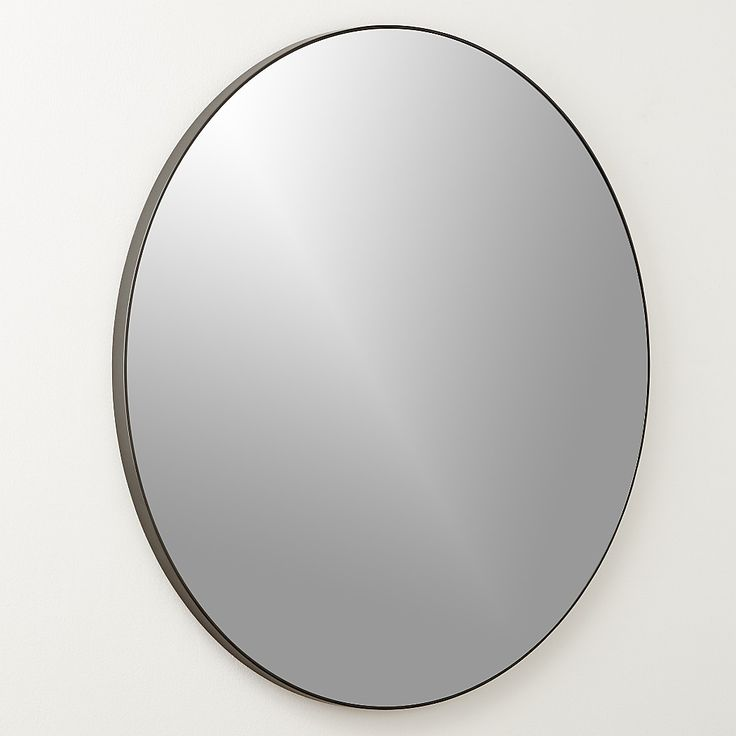 """Shop Infinity Black Round Wall Mirror 36"""". Looking glass framed thin, trim and exact in pure extruded aluminum with matte black finish. Handmade frame resists corrosion so it's perfect in the bath."""