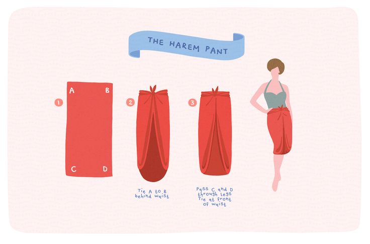 How to tie harem pants from a sarong