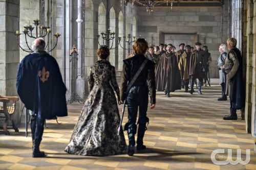 """Reign -- """"Left Behind"""" -- Image Number: RE107a_0004.jpg -- Pictured (L-R): Megan Follows as Queen Catherine, Toby Regbo as Prince Francis (backs to camera) and Michael Aronov as Count Vincent -- Photo: Sven Frenzel/The CW -- © 2013 The CW Network, LLC. All rights reserved."""